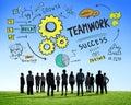 De doelstellingen c van groepswerkteam together collaboration business aspiration Stock Afbeelding