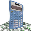 De dollars van de v s en oude calculator Royalty-vrije Stock Fotografie