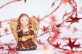 De engel van Kerstmis frame met decotative sterren Stock Afbeelding