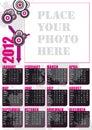 De Engelse kalender van 2012 met fotoframe Stock Foto