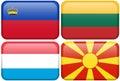 De Europese Knopen van de Vlag: LIC, LIT, NL, MAC Royalty-vrije Stock Foto's