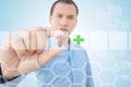 De futuristische achtergrond van artsenshowing pill with Stock Fotografie
