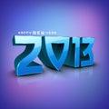 De gestileerde achtergrond van het Nieuwjaar van 2013 Gelukkige. Stock Fotografie