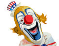 De glimlachende Patriotic clown van Oom Sam Stock Foto