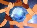 De Handen van de holding rond The Globe Stock Afbeeldingen
