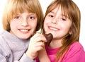 De harten van het kind en van de chocolade Stock Fotografie