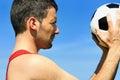 De hartstocht van het voetbal Stock Foto's
