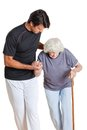 De holding van trainerassisting senior woman het lopen Royalty-vrije Stock Foto