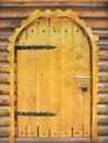 De houten deur van het sprookje Stock Afbeeldingen