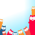 De illustratie van beeldverhaalkatten met plaats voor uw tekst Stock Foto