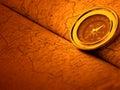 De kaart van het kompas en van de wereld Stock Afbeeldingen