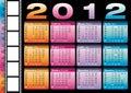 De kalender van 2012 in het Italiaans en het Engels Royalty-vrije Stock Afbeeldingen