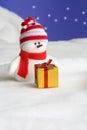 De Kerstkaart van de sneeuwman - de Foto van de Voorraad Stock Foto's