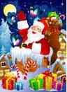 De Kerstman in schoorsteen Stock Foto