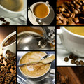 De koffie themed collage Stock Afbeeldingen