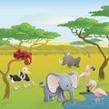 De leuke Afrikaanse scène van het safari dierlijke beeldverhaal Royalty-vrije Stock Foto's