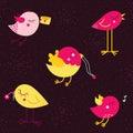 De leuke vectorvogels van de beeldverhaalkrabbel Royalty-vrije Stock Fotografie