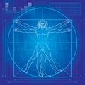 De man Vitruvian (de versie van de Blauwdruk) Stock Fotografie
