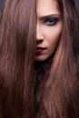 De Model Sensuele Brunette van de schoonheid - Vlot Bruin Haar Royalty-vrije Stock Foto's
