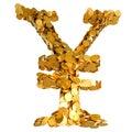 De munt van Yen. Symbool dat met muntstukken wordt geassembleerd Stock Foto