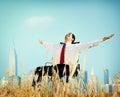 De ontsnappingsconcept van zakenmanrelaxation freedom happiness Stock Afbeelding