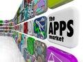 De pictogrammen van de Software van de Toepassing van de Muur van de Markt Apps Stock Afbeelding