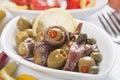De salade van de ansjovis Stock Afbeeldingen