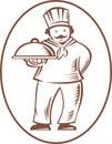 De Schotel van de Schotel van de Holding van Cook Baker van de chef-kok Stock Afbeelding
