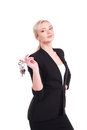 De sleutels van de bedrijfsvrouwenholding over witte achtergrond Royalty-vrije Stock Foto