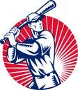 De speler van het honkbal het slaan Royalty-vrije Stock Afbeeldingen