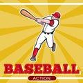 De speler van het honkbal het slaan beeldverhaal Royalty-vrije Stock Afbeelding