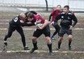 De spelers van het rugby in actie Stock Afbeeldingen