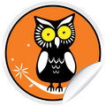 De Sticker van de Uil van Halloween Royalty-vrije Stock Fotografie
