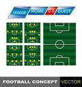 De strategie van het groepswerk. De posities van de voetbal. Stock Foto