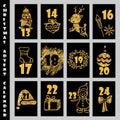 De textuur van kerstmisadvent calendar with gold glitter aftelprocedure aan kerstmis Stock Afbeelding