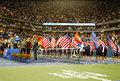 De trofeepresentatie in billie jean king national tennis center na us open kampioen rafael nadal won definitieve gelijke Royalty-vrije Stock Afbeeldingen