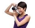 De vrouw overhandigt retro fotografische camera Royalty-vrije Stock Foto's