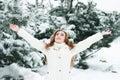 De vrouw van Kerstmis Girl.Winter Stock Afbeeldingen
