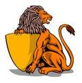 De zitting die van de leeuw een schild houdt Stock Foto