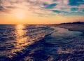 De zon die over de atlantische oceaan kaap mei new jersey plaatsen Stock Afbeeldingen