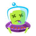 Dead alien in a flying saucer, cute cartoon monster. Colorful vector character