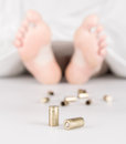 Dead body with bullets Royalty Free Stock Photo