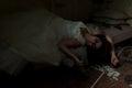 Dead bride in bed creepy creepy devastated room Stock Photography
