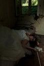 Dead bride creepy in creepy devastated room Royalty Free Stock Photography