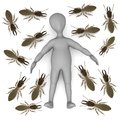 Dead cartoon character with termite soldiers Royalty Free Stock Image