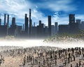 Dead city gloomy landscape with pollution Stock Photo
