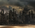 Dead city gloomy landscape with pollution Stock Photography
