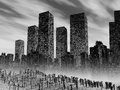 Dead city gloomy landscape with pollution Royalty Free Stock Photos