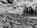 Dead city gloomy landscape with pollution Stock Images