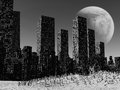 Dead city gloomy landscape with pollution Stock Image